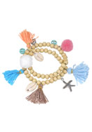 www.misstella.com - Wrap bracelet with shells, tassels and pompoms 18,5cm - J04264