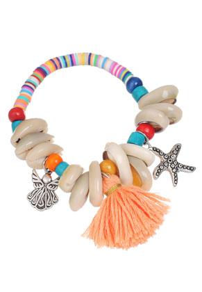 www.misstella.com - Heishi beads bracelet with shells and tassel 18cm