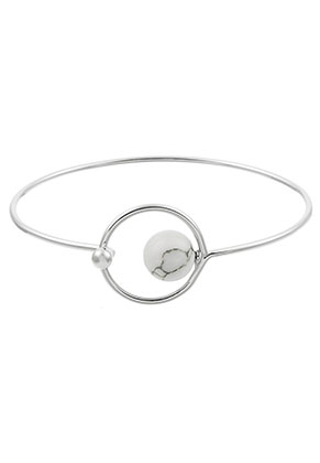 www.misstella.com - Bangle bracelet with natural stone Turquoise Howlite 17cm