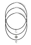 www.misstella.fr - Mélange de colliers avec pendentif soleil, lune et étoile 42-47cm - J04513