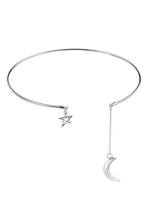 www.misstella.com - Brass neck bangle with charms 35cm