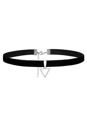 www.misstella.com - Velvet choker with pendant triangle 28-34cm