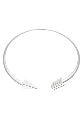 www.misstella.com - Brass neck bangle open with arrow 41cm