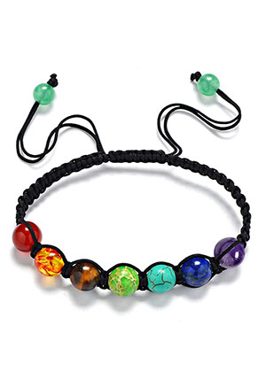 www.misstella.com - Macrame bracelet with natural stone Rainbow Chakra