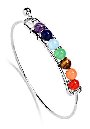 www.misstella.com - Brass bracelet with natural stone Rainbow Chakra 19cm