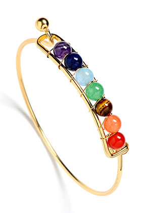 www.misstella.com - Brass bracelet with natural stone Rainbow Chakra 19cm