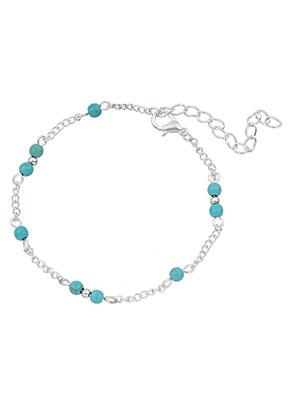 www.misstella.nl - Armband/enkelbandje met natuursteen Turquoise Howlite 18-23cm
