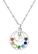 www.misstella.com - Necklace with Rainbow Chakra pendant 45-51cm - J04858