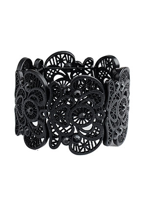 www.misstella.com - Metal bracelet with lace look, stretchable 19cm