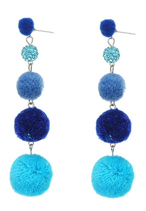 www.misstella.com - Bonbon earrings with pompoms 95x25mm