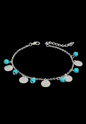 www.misstella.de - Armband/Fußkettchen mit Naturstein Turquoise Howlite 21-25cm