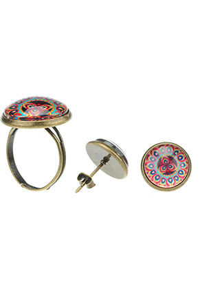 www.misstella.com - Set of ear studs and ring with mandala print