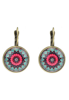 www.misstella.com - Metal snap earring with mandala print 30x18mm