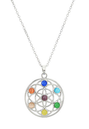 www.misstella.com - Necklace with Rainbow Chakra flower of life 45-51cm