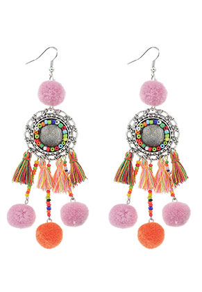 www.misstella.com - Earrings with tassels and pompoms 11,5x3cm