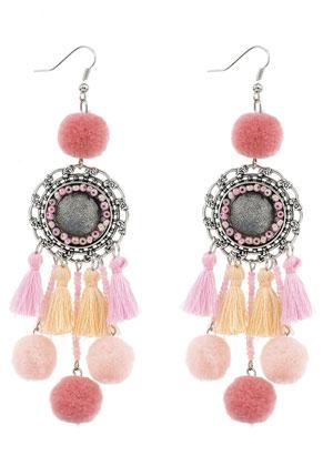 www.misstella.com - Earrings with tassels and pompoms 11,5x3cm
