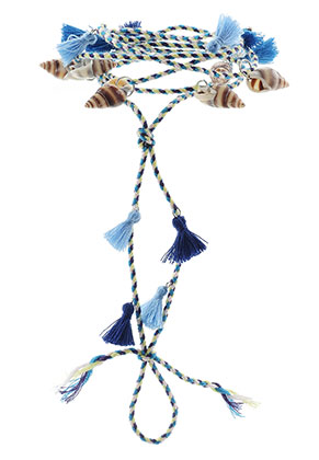 www.misstella.fr - Bracelet de cheville avec coquillages et pompons