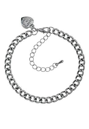 www.misstella.com - Metal bracelet/anklet with charm heart 18-25x0,55cm