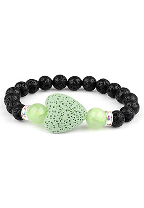 www.misstella.com - Natural stone bracelet lava rock/Pelelith heart 17cm