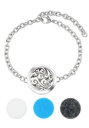 www.misstella.fr - Paquet de bracelet médaillon de parfum en acier inoxydable DQ 17-23cm