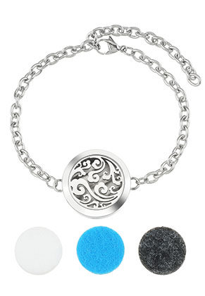 www.misstella.nl - Roestvrijstalen parfum medaillon armband set DQ 17-23cm