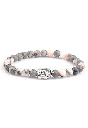 www.misstella.nl - Natuursteen armband Pink Zebra Jasper met Boeddha 17cm