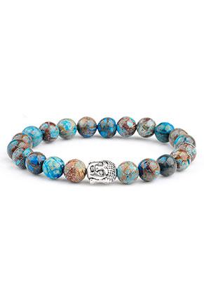 www.misstella.de - Naturstein Armband Blue Stripe Jasper mit Buddha 17cm