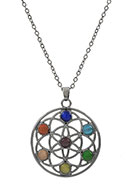www.misstella.com - Necklace with Rainbow Chakra flower of life 45-51cm - J05710