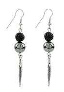 www.misstella.com - Natural stone earrings lava rock/Pelelith feather - J05713