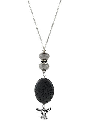 www.misstella.com - Necklace with natural stone pendant lava rock/Pelelith and angel 45-50cm