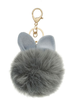 www.misstella.com - Key fob with fluff ball bunny 17x8cm