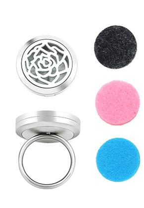 www.misstella.com - Stainless steel perfume locket ring set DQ Ø 18mm
