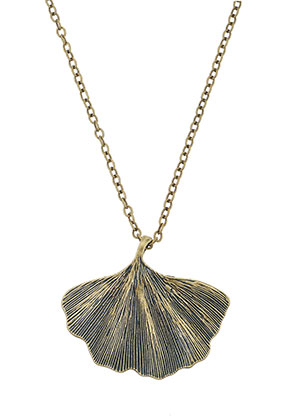 www.misstella.nl - Halsketting met hanger ginkgo blad 45-50cm