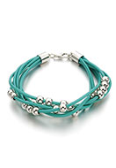www.misstella.com - Leather bracelet with metal look beads 18-23cm - J06252