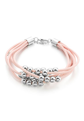 www.misstella.com - Leather bracelet with metal look beads 18-23cm