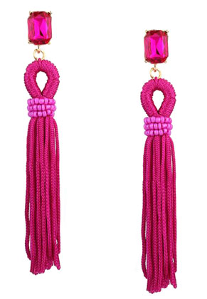 www.misstella.com - Ear studs with tassel and strass 10x3cm