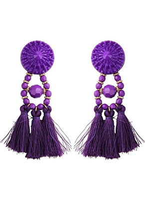 www.misstella.fr - Clous d'oreilles avec pompons 95x30mm