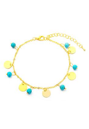 www.misstella.com - Bracelet/anklet with natural stone Turquoise Howlite 21-26cm
