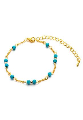 www.misstella.nl - Armband/enkelbandje met natuursteen Turquoise Howlite 17,5-24cm