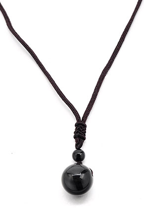 www.misstella.com - Necklace with natural stone pendant Obsidian 40-75cm