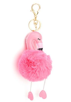 www.misstella.com - Key fob with fluff ball flamingo