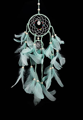 www.misstella.com - Pendant dreamcatcher round with feathers 55x20cm