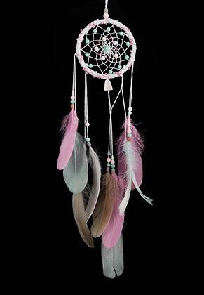 www.misstella.fr - Pendentif capteur de rêves ronde avec plumes 65x20cm