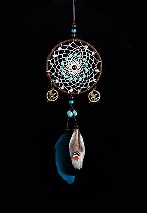 www.misstella.com - Pendant dreamcatcher round with feathers 40x11,5cm