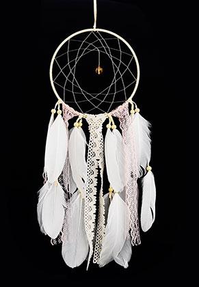 www.misstella.fr - Pendentif capteur de rêves ronde avec plumes 52x15cm