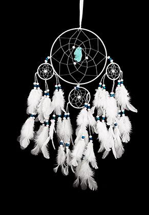 www.misstella.com - Pendant dreamcatcher round with feathers 55x25cm