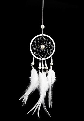 www.misstella.fr - Pendentif capteur de rêves ronde avec plumes 32x6,5cm