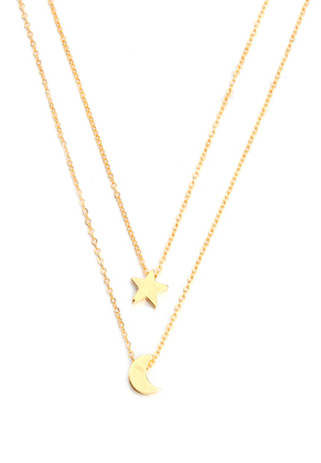 www.misstella.com - Layered necklace with moon and star 40-45cm