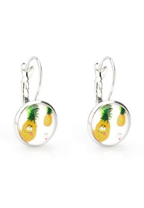 www.misstella.nl - Metalen klap oorbel met ananas 26x14mm
