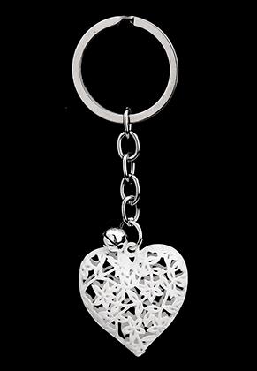 www.misstella.nl - Sleutelhanger hartje met strass binnenin en belletje 9,5x3cm
